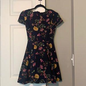 Dark Blue Floral Skater Dress